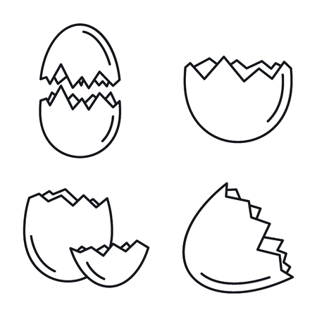 Broken eggshell icons set, outline style