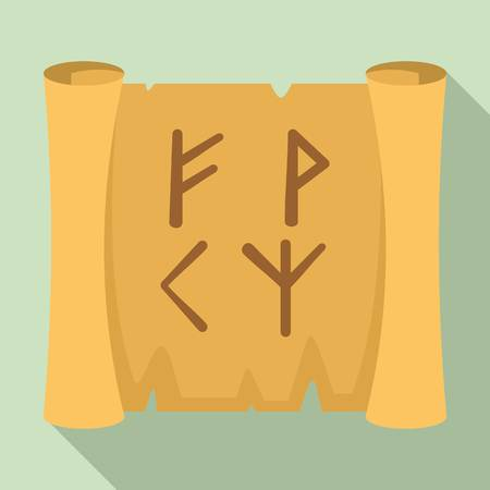 Magic old papyrus icon, flat style