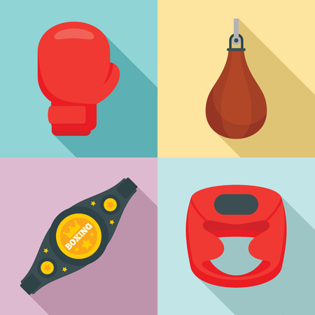 Boxing icons set. Flat set of boxing vector icons for web design
