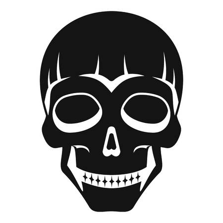 Smiling skull head icon, simple style Illustration