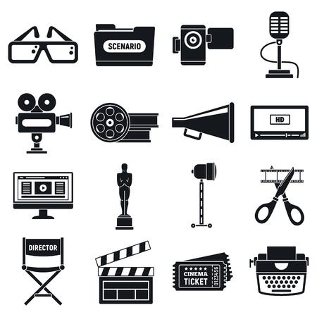 Icons für die Videofilmproduktion eingestellt. Einfache Reihe von Vektorsymbolen für die Videofilmproduktion für Webdesign auf weißem Hintergrund