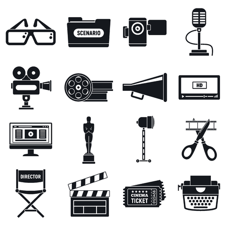 Video film production icons set. Simple set of video film production vector icons for web design on white background