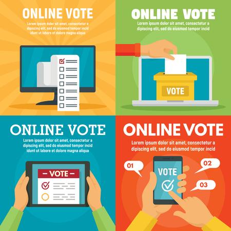 Ensemble de bannières de vote en ligne moderne, style plat