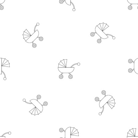 Baby carriage pattern seamless vector repeat geometric for any web design