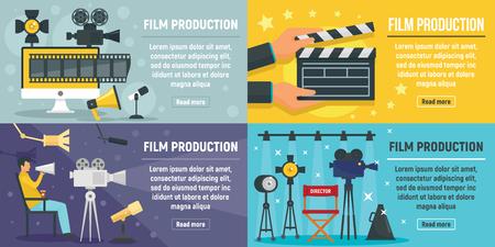 Film production banner set. Flat illustration of film production vector banner set for web design
