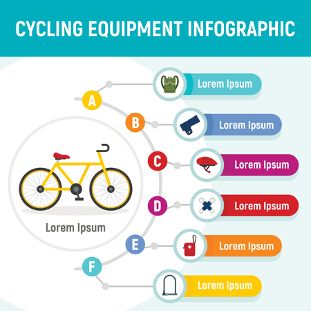 Cycling equipment infographic. Flat illustration of cycling equipment vector infographic for web design