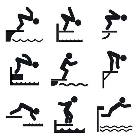 Conjunto de iconos de tabla de buceo. Conjunto simple de iconos de vector de trampolín para diseño web sobre fondo blanco Ilustración de vector