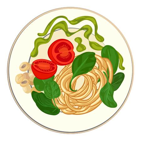 Spinach with spaghetti icon. Cartoon of spinach with spaghetti vector icon for web design isolated on white background Ilustrace