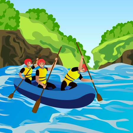 Rafting concept background. Cartoon illustration of rafting vector concept background for web design