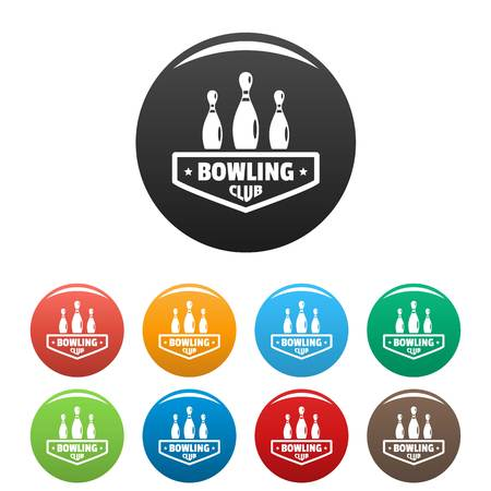 Bowling club icons set 9 color vector isolated on white for any design