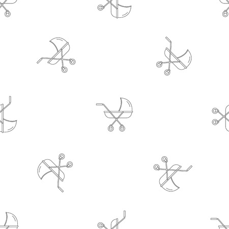 Modern baby carriage pattern seamless vector repeat geometric for any web design