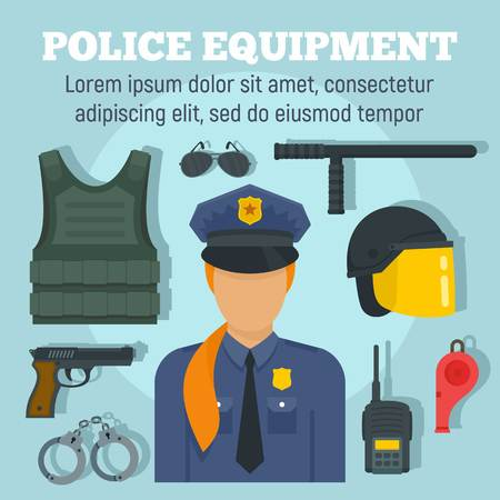 Police weapon equipment concept background. Flat illustration of police weapon equipment vector concept background for web design