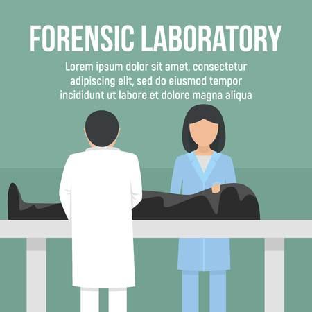 Fondo de concepto de hombre muerto de laboratorio forense. Ilustración plana del fondo del concepto del vector del hombre muerto del laboratorio forense para el diseño web