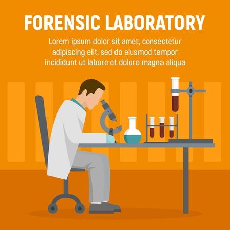 Forensic laboratory chemical tube concept background. Flat illustration of forensic laboratory chemical tube vector concept background for web design