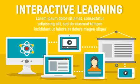 Modern interactive learning concept banner. Flat illustration of modern interactive learning vector concept banner for web design
