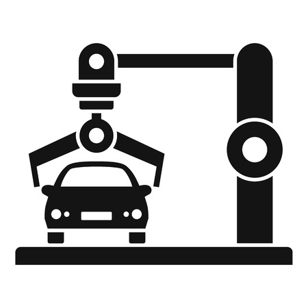 Robot car factory icon. Simple illustration of robot car factory vector icon for web design isolated on white background