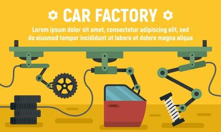 Car factory parts concept banner. Flat illustration of car factory parts vector concept banner for web design