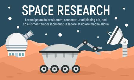 Planet space research concept banner. Flat illustration of planet space research vector concept banner for web design