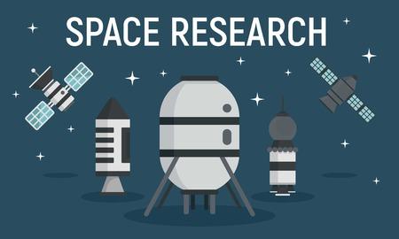 Space research equipment concept banner. Flat illustration of space research equipment vector concept banner for web design Иллюстрация