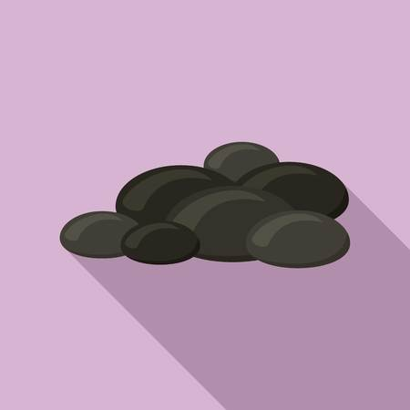 Coal stone icon, flat style