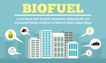 City biofuel concept banner, flat style 일러스트
