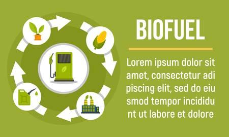 Biofuel concept banner. Flat illustration of biofuel vector concept banner for web design