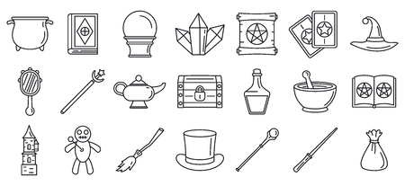 Magic wizard tools icons set, outline style Vectores