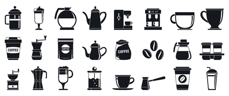 Barista icons set, simple style