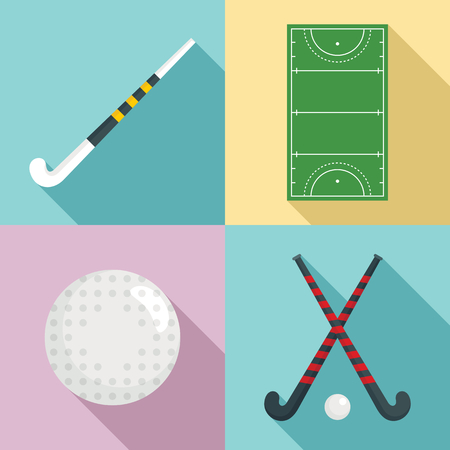 Field hockey icons set, flat style