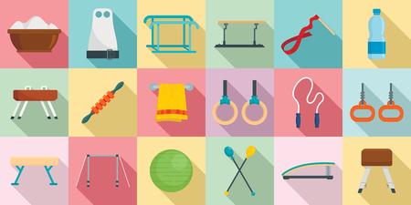Gymnastics equipment icons set, flat style Illustration