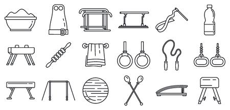 Modern gymnastics equipment icons set, outline style