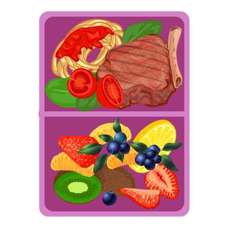 Violet lunchbox icon, cartoon style