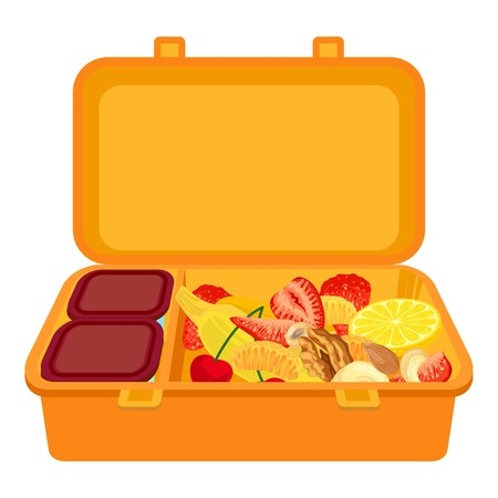 Open lunchbox icon. Cartoon of open lunchbox vector icon for web design isolated on white background