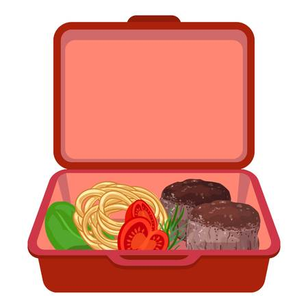 Red lunchbox icon, cartoon style Stock Illustratie