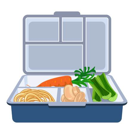 Plastic lunchbox icon, cartoon style