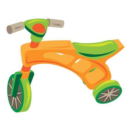 Plastic tricycle icon, cartoon style Illustration