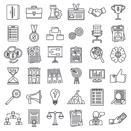 Corporate governance training icons set. Outline set of corporate governance training vector icons for web design isolated on white background Çizim