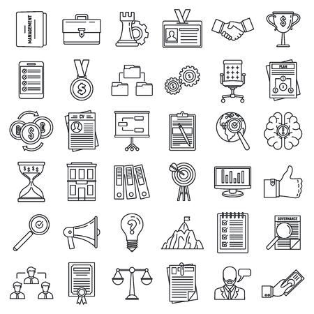 Corporate governance training icons set. Outline set of corporate governance training vector icons for web design isolated on white background Illustration