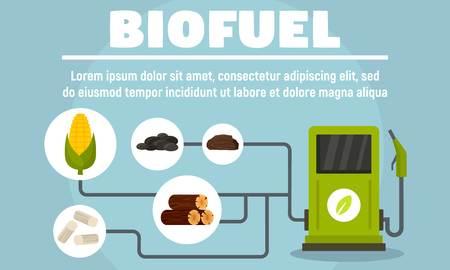 Biofuel system concept banner. Flat illustration of biofuel system vector concept banner for web design