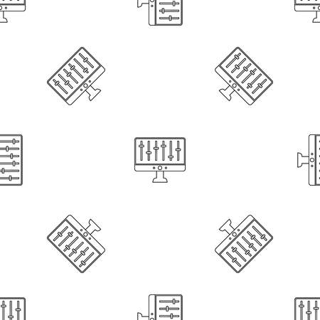 Equalizer monitor pattern seamless vector repeat geometric for any web design Illustration