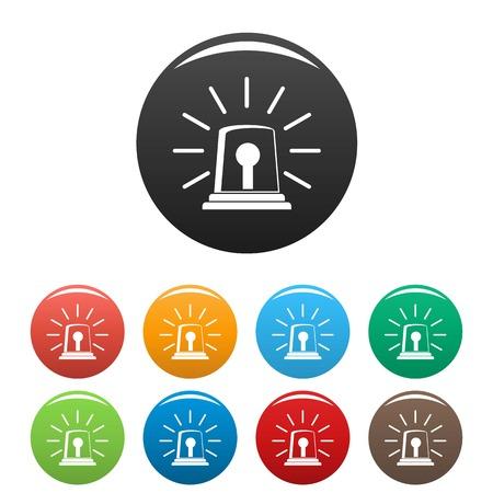 Iconos de sirena de alarma set 9 vector de color aislado en blanco para cualquier diseño