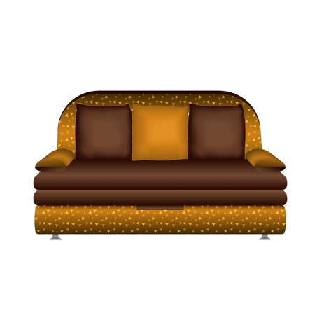 Leather sofa icon. Cartoon of leather sofa vector icon for web design isolated on white background