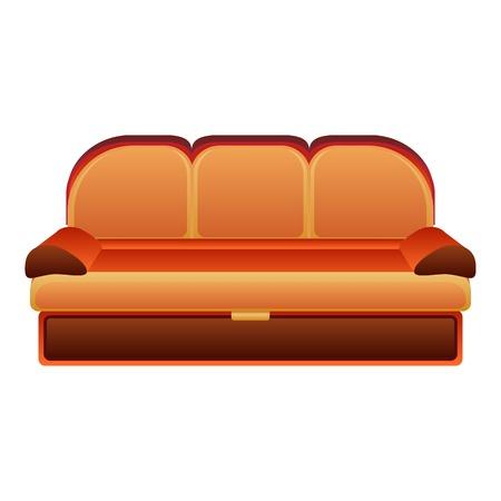 Orange modern sofa icon. Cartoon of orange modern sofa vector icon for web design isolated on white background