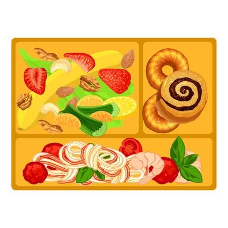 Healthy lunchbox icon, cartoon style Illustration