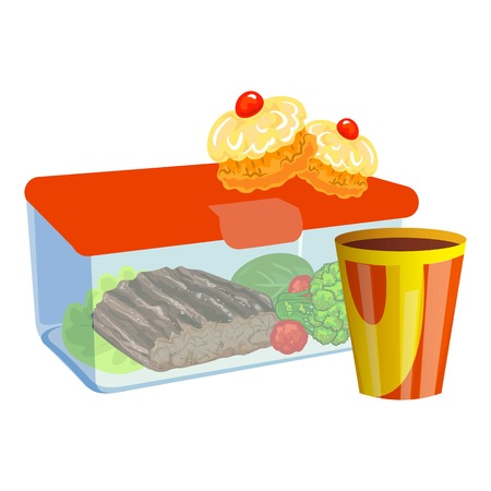 Steak lunchbox icon. Cartoon of steak lunchbox vector icon for web design isolated on white background