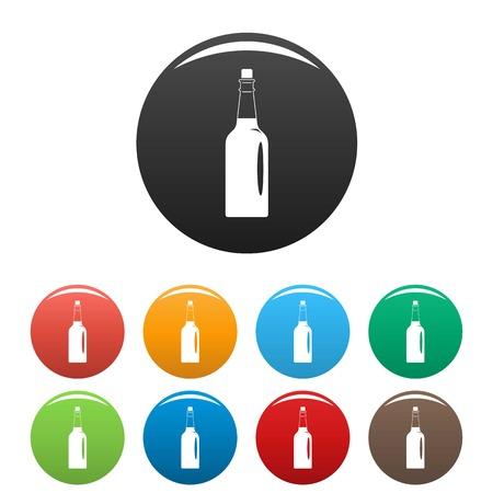 Fine olive oil bottle icons set 9 color vector isolated on white for any design Ilustração