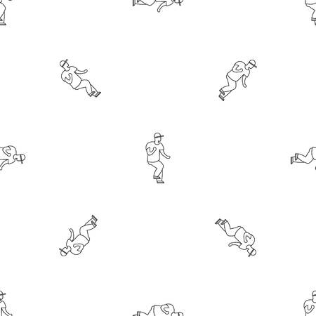 Hip hop dancer pattern seamless vector repeat geometric for any web design