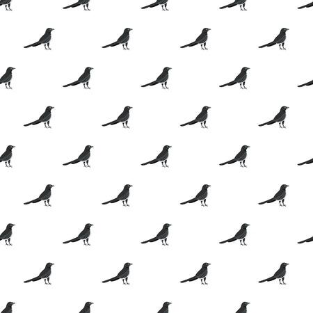 Black, magpie pattern seamless, vector illustration