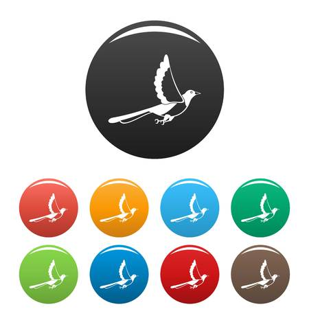 Magpie fly icons set color