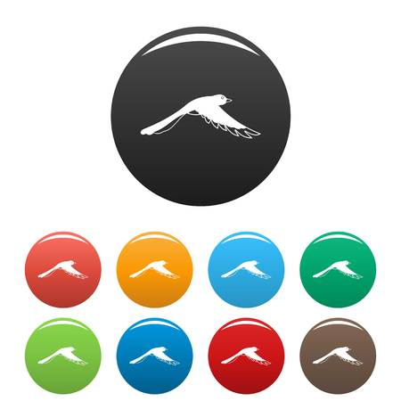 Flying magpie icons set color